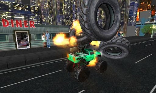 Écrans du jeu Monster Trucks vs. Army Night Smash pour iPhone, iPad ou iPod.