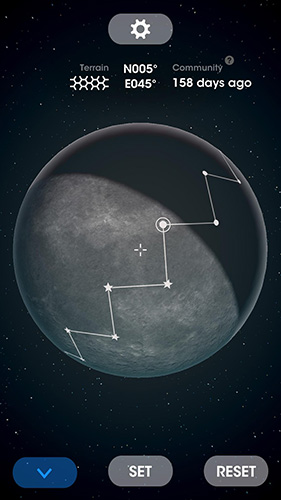 Screenshots of the Moon surfing game for iPhone, iPad or iPod.