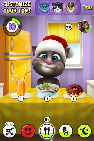 Écrans du jeu My talking Tom pour iPhone, iPad ou iPod.