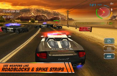 iPhone、iPad または iPod 用Need for Speed: Hot Pursuitゲームのスクリーンショット。
