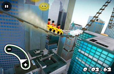 iPhone、iPad または iPod 用New York 3D Rollercoaster Rushゲームのスクリーンショット。