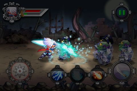 Écrans du jeu Ninja vs. zombies pour iPhone, iPad ou iPod.