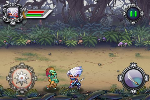 Screenshots do jogo Ninja vs. zombies para iPhone, iPad ou iPod.