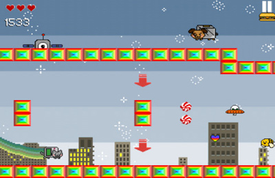 Écrans du jeu Nyan Cat Adventure pour iPhone, iPad ou iPod.