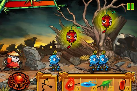 Screenshots of the Panda vs. zombies game for iPhone, iPad or iPod.
