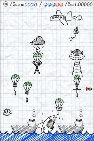 Screenshots of the Parachute Panic game for iPhone, iPad or iPod.