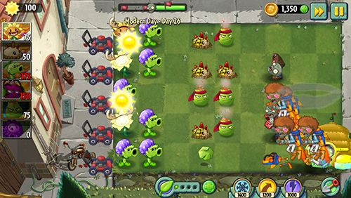 Скриншот игры Plants vs. zombies 2: Modern day на Айфон.