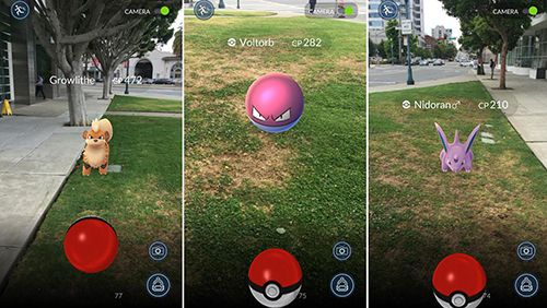 Screenshots of the Pokemon go! game for iPhone, iPad or iPod.