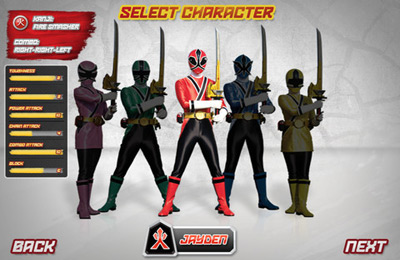 iPhone、iPad または iPod 用Power Rangers Samurai Steelゲームのスクリーンショット。