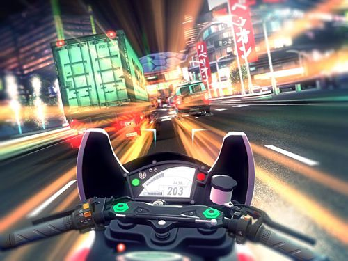 Screenshots vom Spiel Raceline CC: High-speed motorcycle street racing für iPhone, iPad oder iPod.
