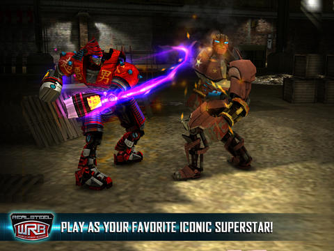 Screenshots of the Real Steel World Robot Boxing game for iPhone, iPad or iPod.