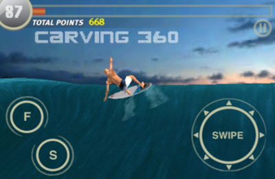 Écrans du jeu Rip Curl Surfing Game (Live The Search) pour iPhone, iPad ou iPod.