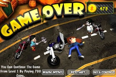 Screenshots vom Spiel Road rash zombies für iPhone, iPad oder iPod.