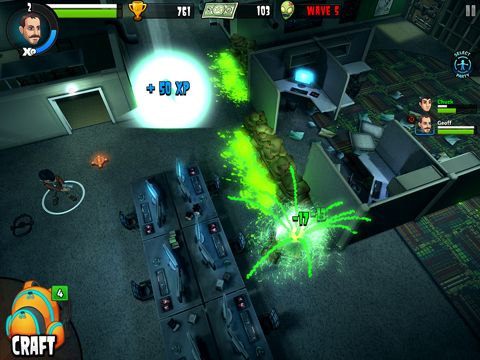 Écrans du jeu Rooster teeth vs. zombiens pour iPhone, iPad ou iPod.