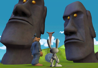 Screenshots do jogo Sam & Max Beyond Time and Space Episode 2.  Moai Better Blues para iPhone, iPad ou iPod.