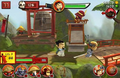 Écrans du jeu Samurai vs Zombies Defense pour iPhone, iPad ou iPod.