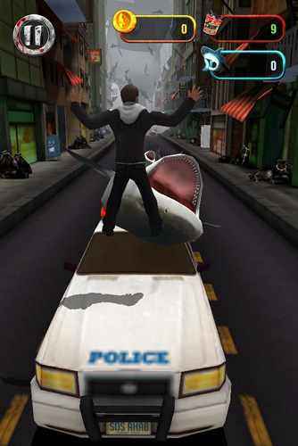 iPhone、iPad 或 iPod 版Sharknado: The video game游戏截图。