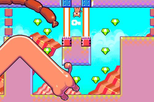 Écrans du jeu Silly sausage in meat land pour iPhone, iPad ou iPod.