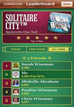 Screenshots of the Solitaire City game for iPhone, iPad or iPod.