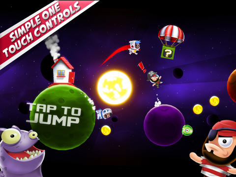 Écrans du jeu Space Chicks pour iPhone, iPad ou iPod.