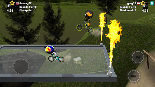 Screenshots of the Stickman bike battle game for iPhone, iPad or iPod.
