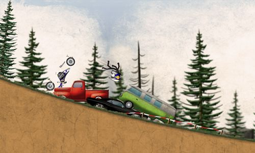 Screenshots of the Stickman downhill motocross game for iPhone, iPad or iPod.