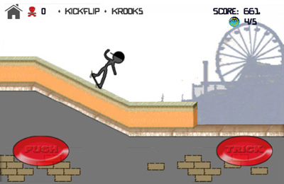 Screenshots of the Stickman Skater game for iPhone, iPad or iPod.