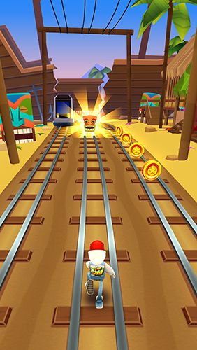 Screenshots of the Subway surfers: Hawaii game for iPhone, iPad or iPod.