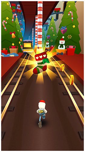 Скриншот игры Subway Surfers: North pole на Айфон.