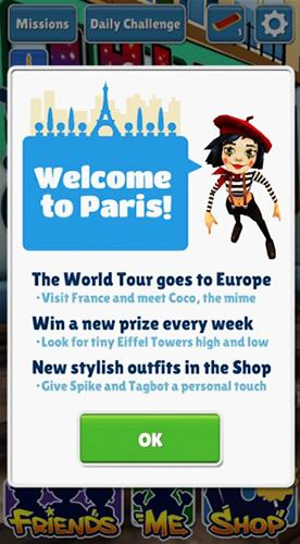 Kostenloses iPhone-Game Subway Surfers: Paris herunterladen.
