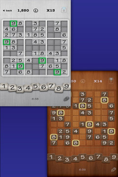 Screenshots of the Sudoku + game for iPhone, iPad or iPod.
