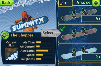 Screenshots of the SummitX Snowboarding game for iPhone, iPad or iPod.