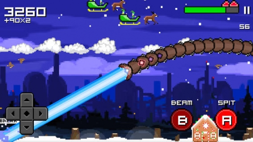 Скриншот игры Super mega worm vs. Santa: saga на Айфон.