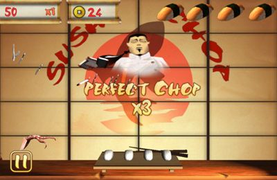 Screenshots of the Sushi Chop game for iPhone, iPad or iPod.