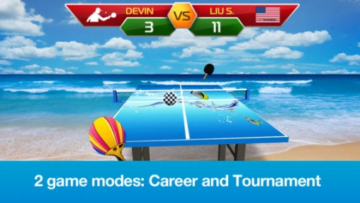 Écrans du jeu Table Tennis 3D – Virtual World Cup pour iPhone, iPad ou iPod.