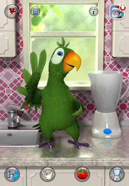 iPhone、iPad または iPod 用Talking Pierre the Parrotゲームのスクリーンショット。