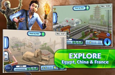 Screenshots do jogo The Sims 3 World Adventures para iPhone, iPad ou iPod.