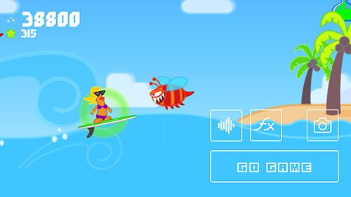 iPhone、iPad または iPod 用The wave surf: Tap adventureゲームのスクリーンショット。