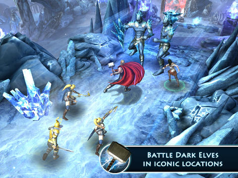iPhone、iPad または iPod 用Thor: The Dark World - The Official Gameゲームのスクリーンショット。