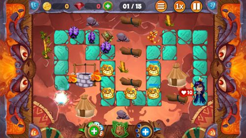 Screenshots of the Tiki defense game for iPhone, iPad or iPod.