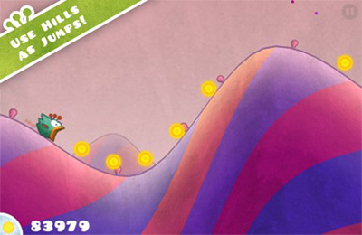 Screenshots of the Tiny Wings game for iPhone, iPad or iPod.