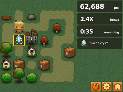 Screenshots of the Triple Town game for iPhone, iPad or iPod.
