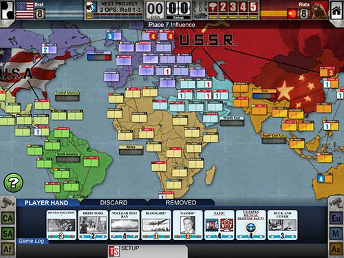 Screenshots of the Twilight struggle game for iPhone, iPad or iPod.