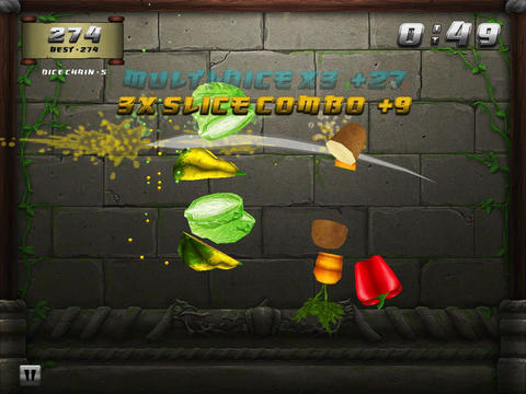 Screenshots of the Veggie samurai game for iPhone, iPad or iPod.