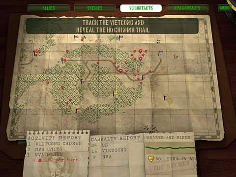 Screenshots of the Vietnam '65 game for iPhone, iPad or iPod.