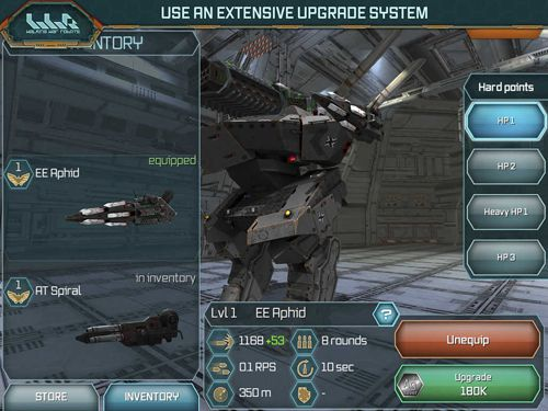 Écrans du jeu Walking war robots pour iPhone, iPad ou iPod.
