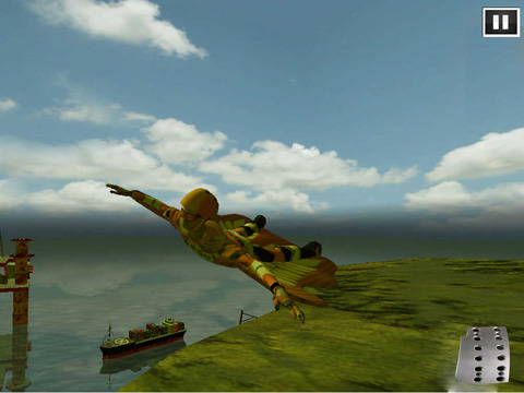 Screenshots vom Spiel Wing suit: Flying simulator für iPhone, iPad oder iPod.