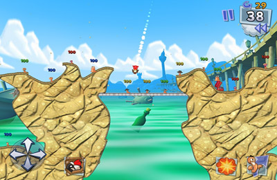 Screenshots do jogo Worms 3 para iPhone, iPad ou iPod.