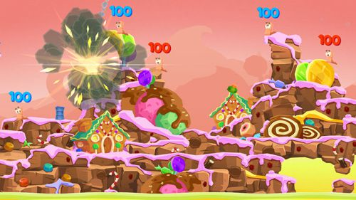 Screenshots do jogo Worms 4 para iPhone, iPad ou iPod.