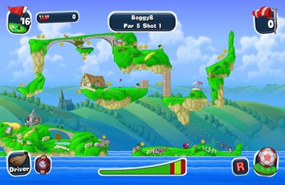 Screenshots of the Worms Crazy Golf game for iPhone, iPad or iPod.